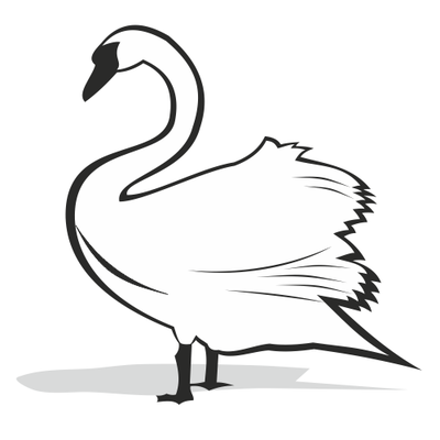 Black And White Swan Silhouette 29035 Png