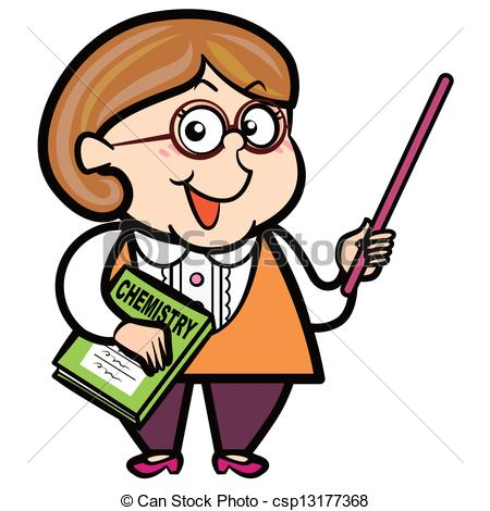 Cartoon Teacher With A Pointer And Book   Csp13177368