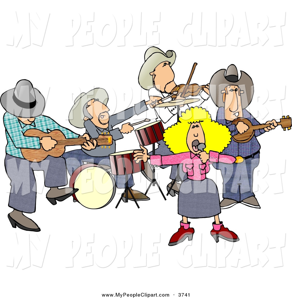 Clip Art Of A Caucasian Country Western Band Playing Country Music By
