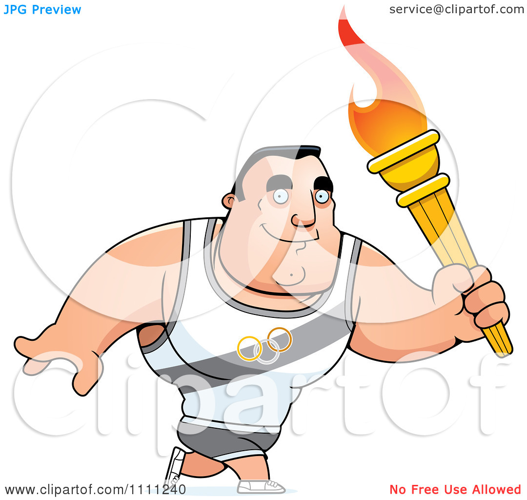 Clipart Buff Olympic Athlete Man Walking With A Torch   Royalty Free