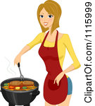 Clipart Happy Blond Woman Cooking Steaks On A Bbq Royalty Free Vector