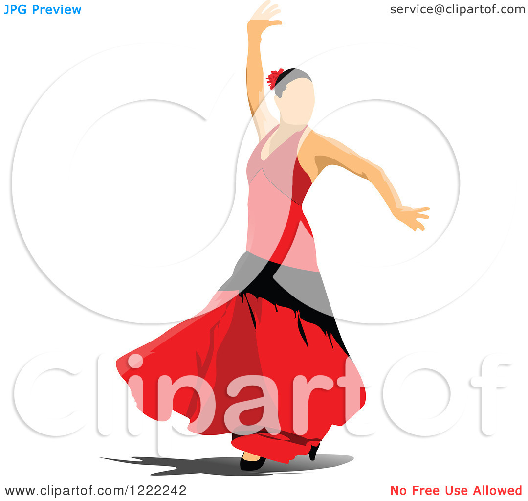 Clipart Of A Female Flamenco Dancer   Royalty Free Vector Illustration