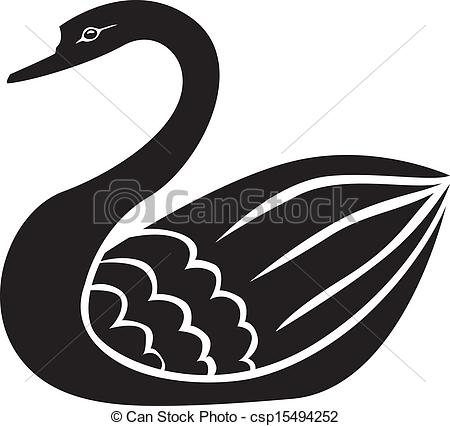 Clipart Vector Of Swan Silhouette   Silhouette Image Of Beautiful
