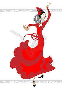 Flamenco Dancer With Fan   Vector Clipart