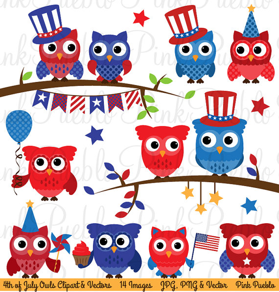 Fourth Of July Owl Clipart Clip Art Happy 4th Of July Owls Clipart