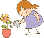 Girl Watering Flower Plant   Clipart Graphic
