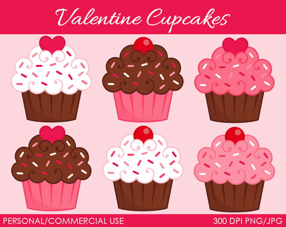 Valentine S Cupcakes 2 Clipart   Digital Clip Art Graphics For