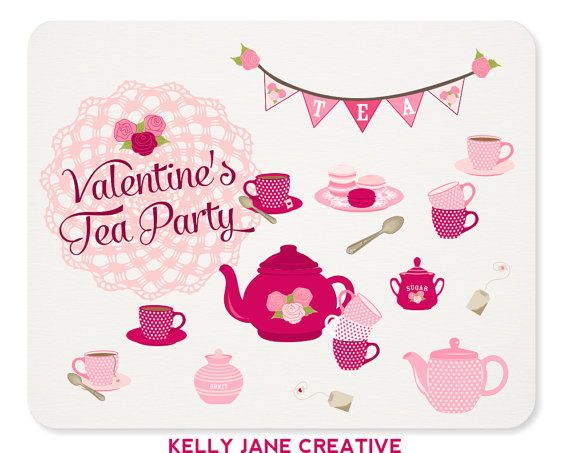 Valentine S Day Tea Party Clipart   Doily Bunting Tea Set Macarons