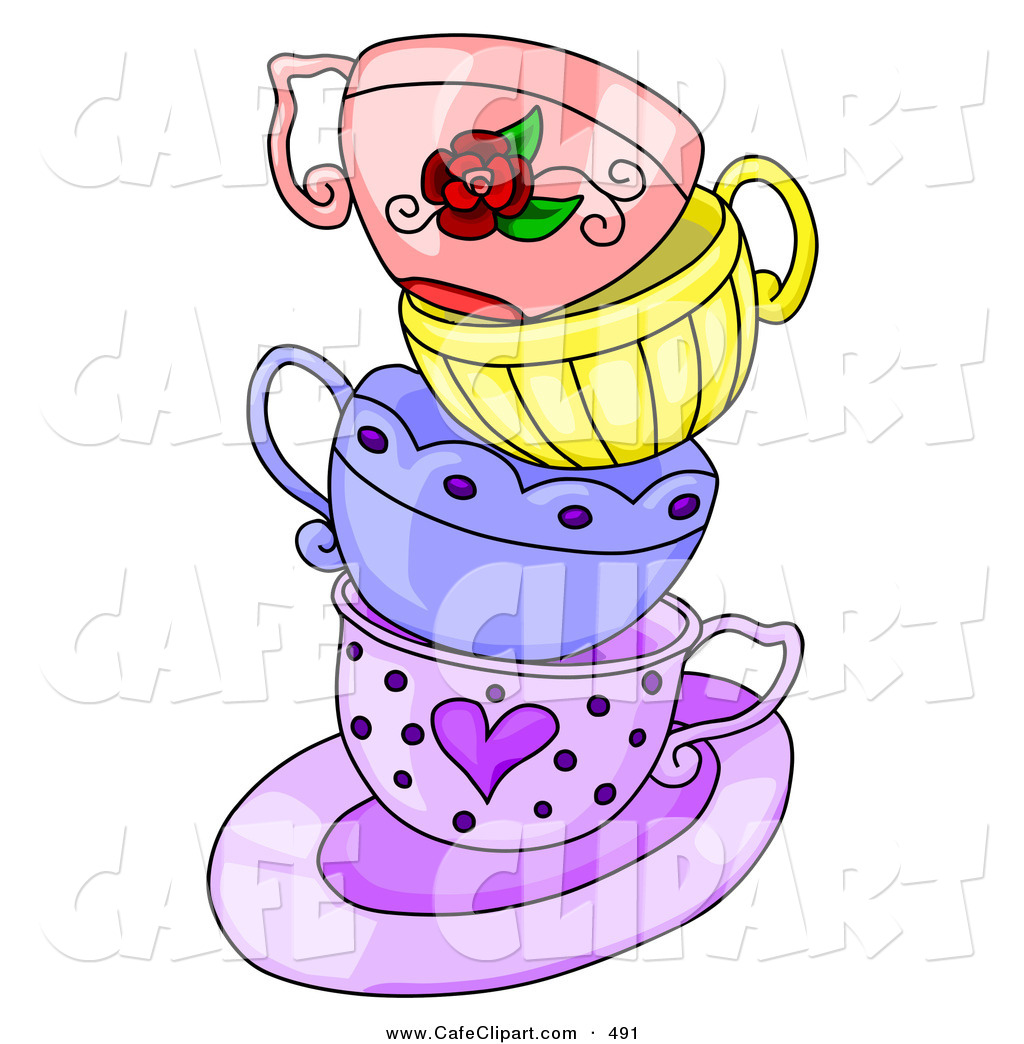Art Of A Messy Stack Of Colorful Tea Cups On A Purple Saucer On White
