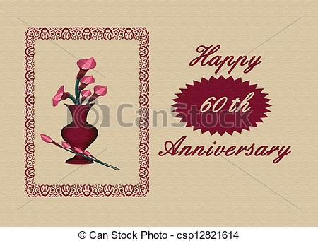 Clipart Of 606th Wedding Anniversary Card   Calla Lilies Illustration