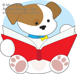 Cute Puppy Reading Clipart Image   Acclaim Stock Photography