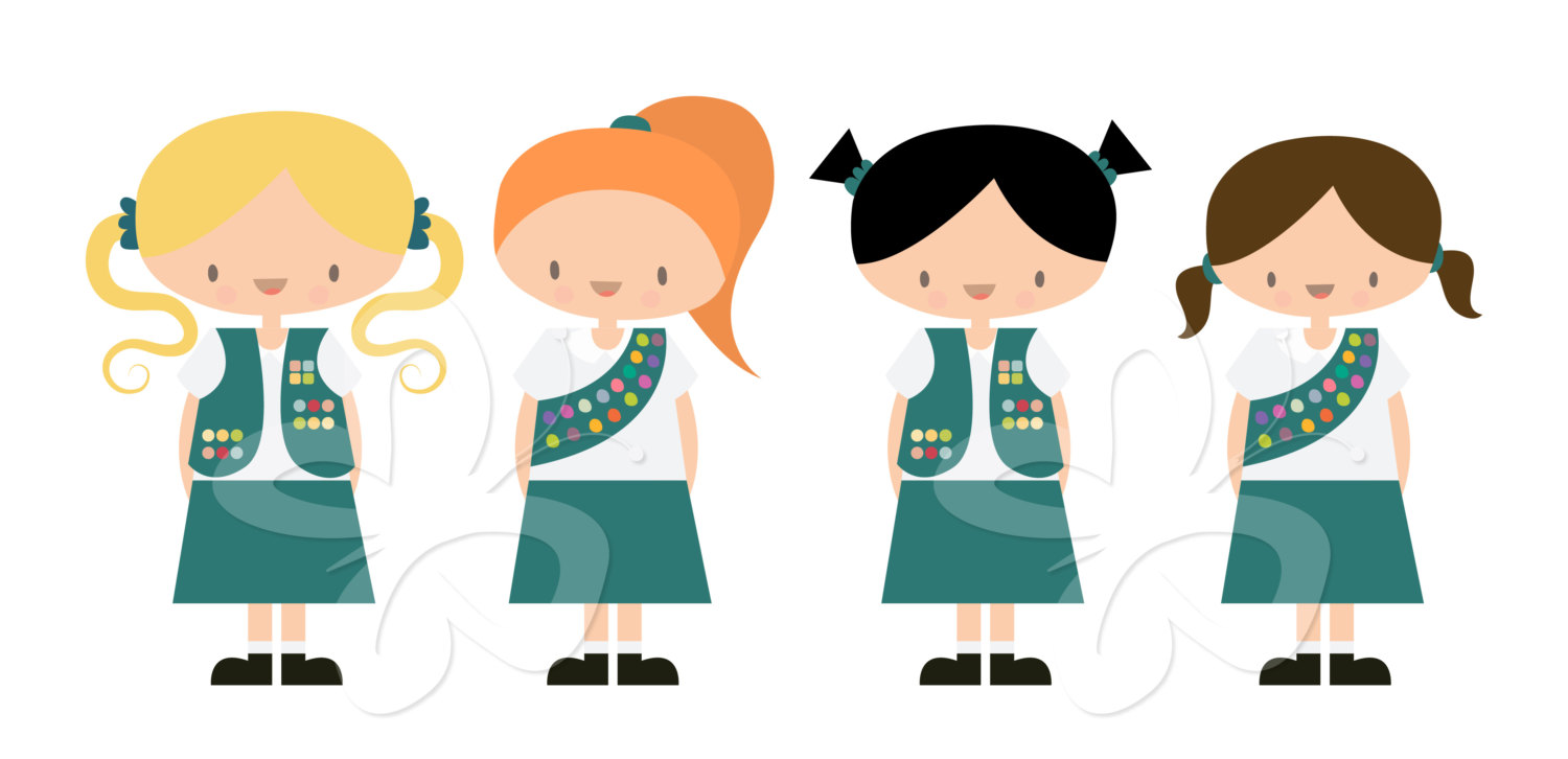 Clip Art Girl Scouts Clip Art junior girl scout clipart kid scouts clip art set commercial by collectivecreation