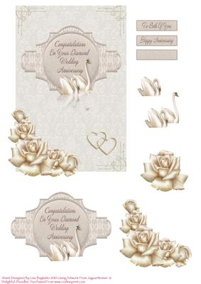 Jpeg  Roses   Swans 60th Wedding Anniversary Card By Lisa Baglietto