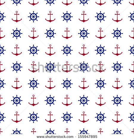 Seamless Nautical Pattern With Red Anchors And Blue Ship Wheels