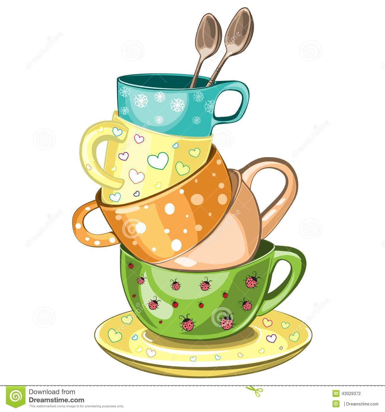 Stacked Fancy Multi Colored Tea Cups Vector Illustration