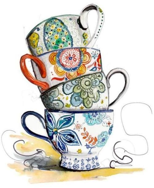 Tea Cup Border Clip Art   Tea Cups   Tea Cup Art   Pinterest