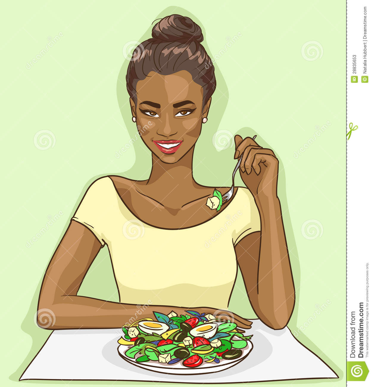 African American Woman Eating Salad Stock Photos   Image  28835653