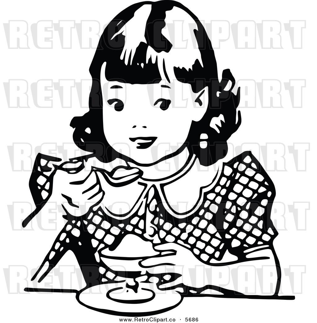 Black And White Girl Eating Dessert Retro Black And White Boy Eating