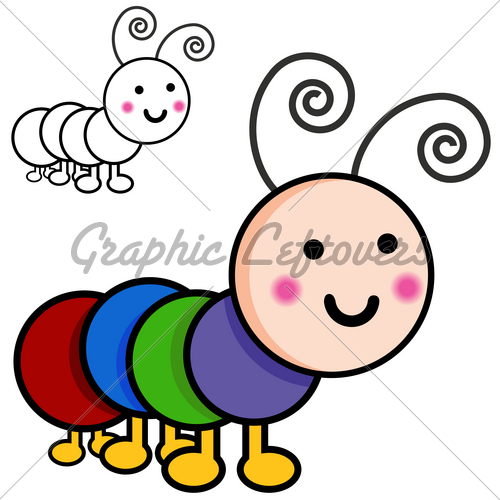 Caterpillar Cartoon Bugs   Gl Stock Images