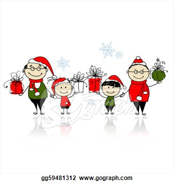 Clipart   Christmas Gifts  Happy Family Together  Stock Illustration