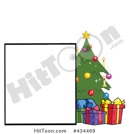 Clipart Family Tree  Blank Sign By A Christmas Tree