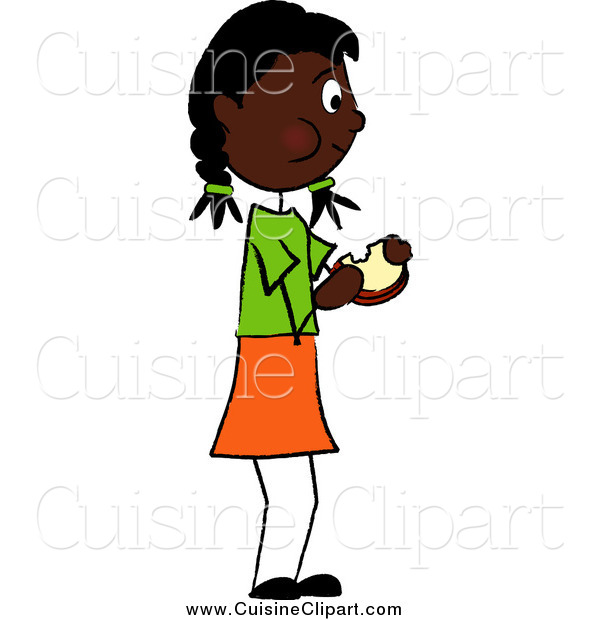 Clipart Of A Black Girl Standing And Eating A Sandwich By Pams Clipart