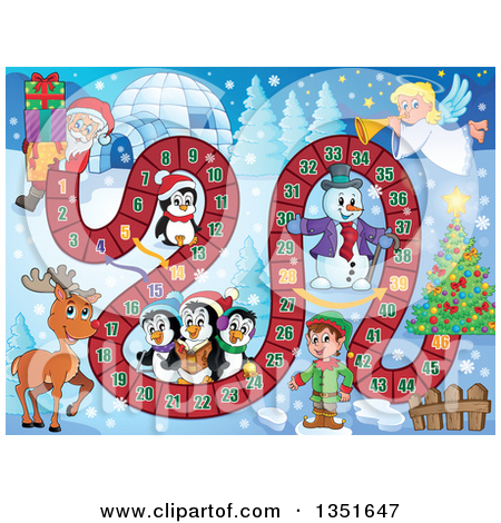 Clipart Of A Cartoon Happy Penguin Family With Gifts By A Christmas