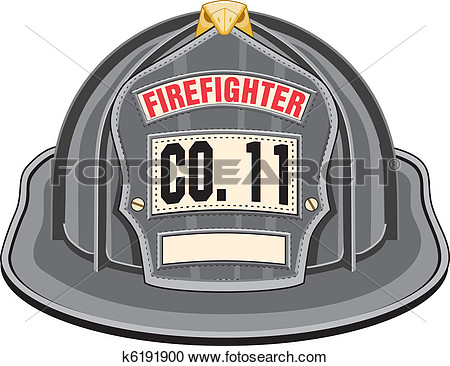 Firefighter Helmet Black View Large Clip Art Graphic