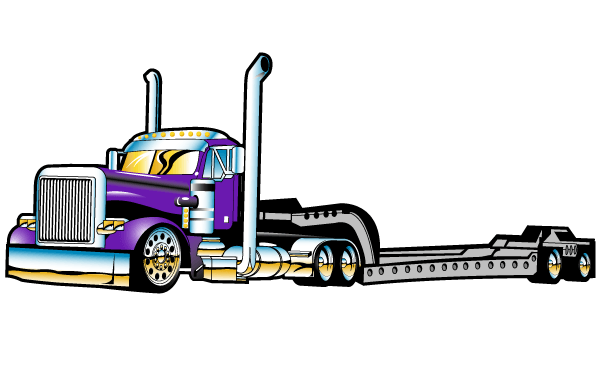 Flatbed Semi Truck Vector Free   Download Free Vector Graphics Vector