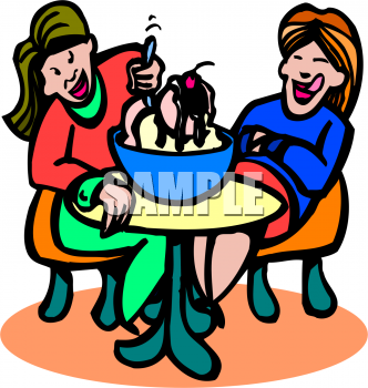 Food Clip Art Of Girls Eating Sharing An Ice Cream Sundae