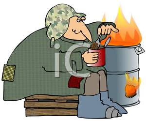 Homeless Man Eating A Can Of Pork And Beans   Royalty Free Clipart