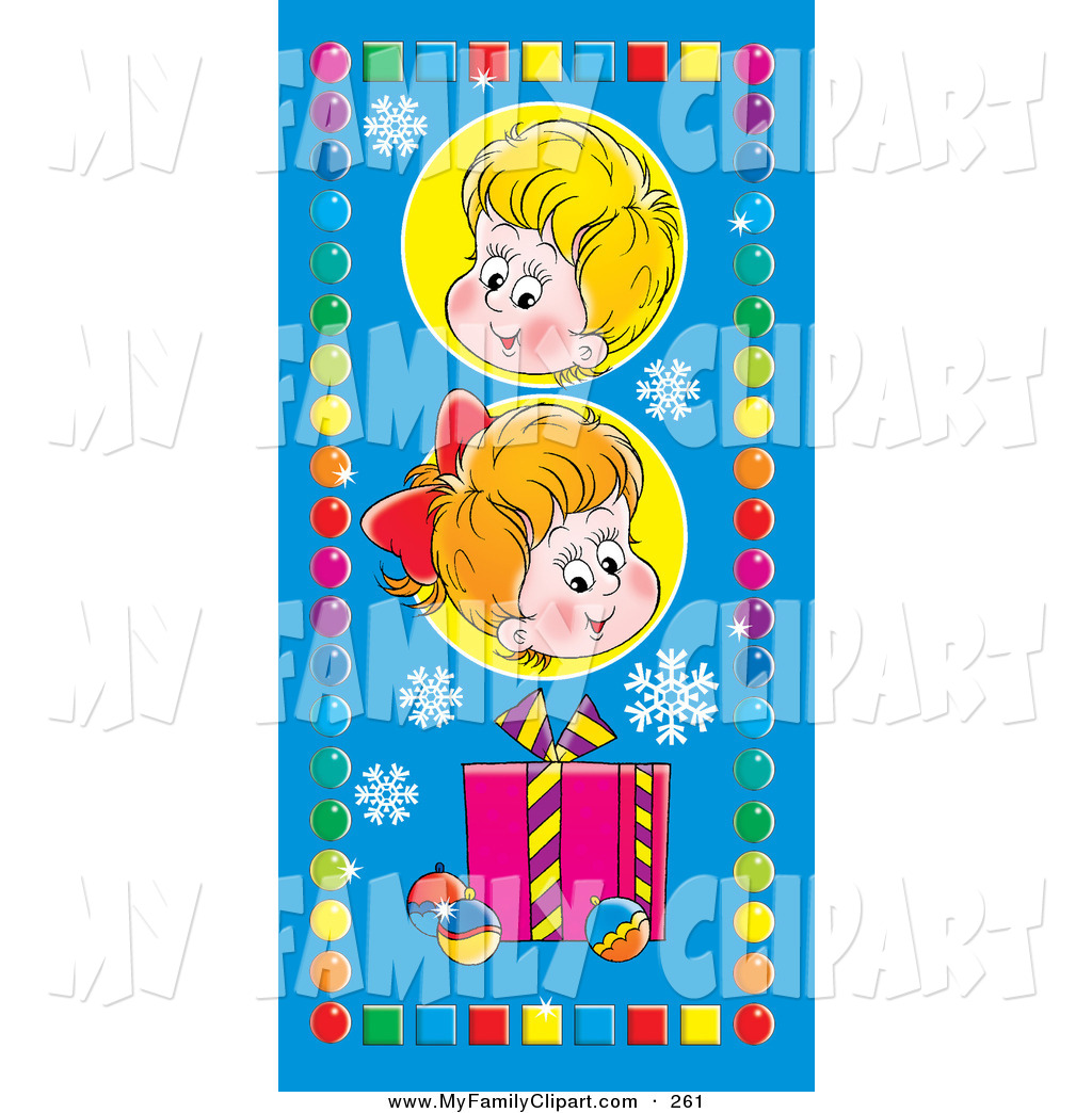 Larger Preview  Clip Art Of A Cute Little Boy And Girl Above A Gift