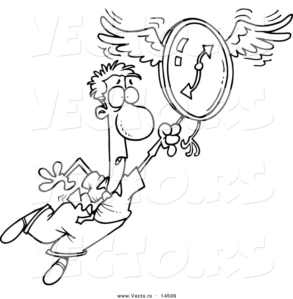 Larger Preview  Vector Of A Cartoon Man Flying Away With A Clock