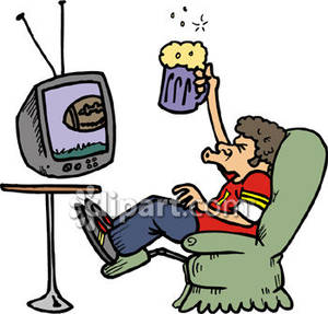 Man Drinking Beer And Watching Football   Royalty Free Clipart Picture