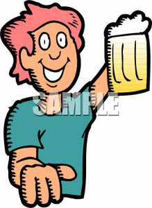 Man Drinking Beer   Royalty Free Clipart Picture