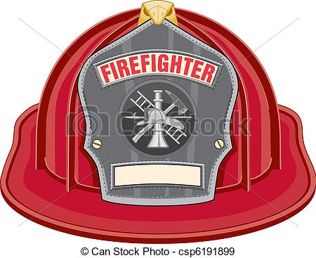 Red Firefighter Helmet Or Fireman Hat From The Front With Firefighter