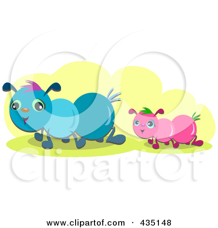 Royalty Free  Rf  Clipart Illustration Of Two Caterpillars Over Yellow