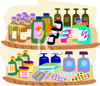 0511 0902 1117 3547 Medications On A Shelf In A Pharmacy Clipart Image