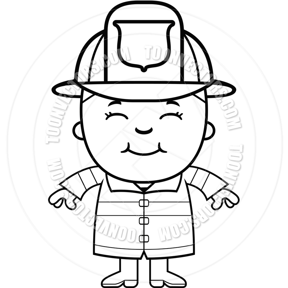 Boy Firefighter  Black And White Line Art  By Cory Thoman   Toon