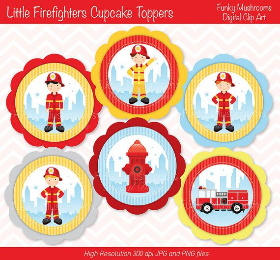 Digital Clipart   Little Firefighters Cupcake Toppers Printable For S