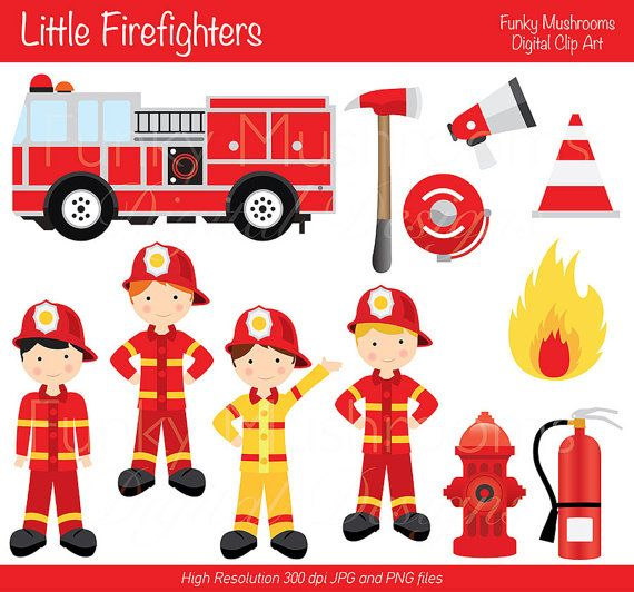 Digital Clipart   Little Firefighters For Scrapbooking Invitations