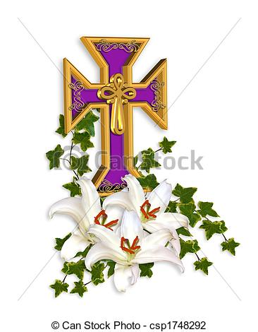 Easter Cross And Lilies   Csp1748292