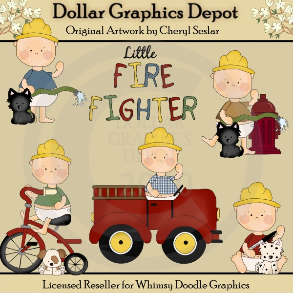 Firefighter Clip Art This Collection Includes Five Little Firefighter