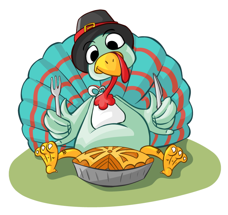 Free Cartoon Turkey Eating Pie Clip Art