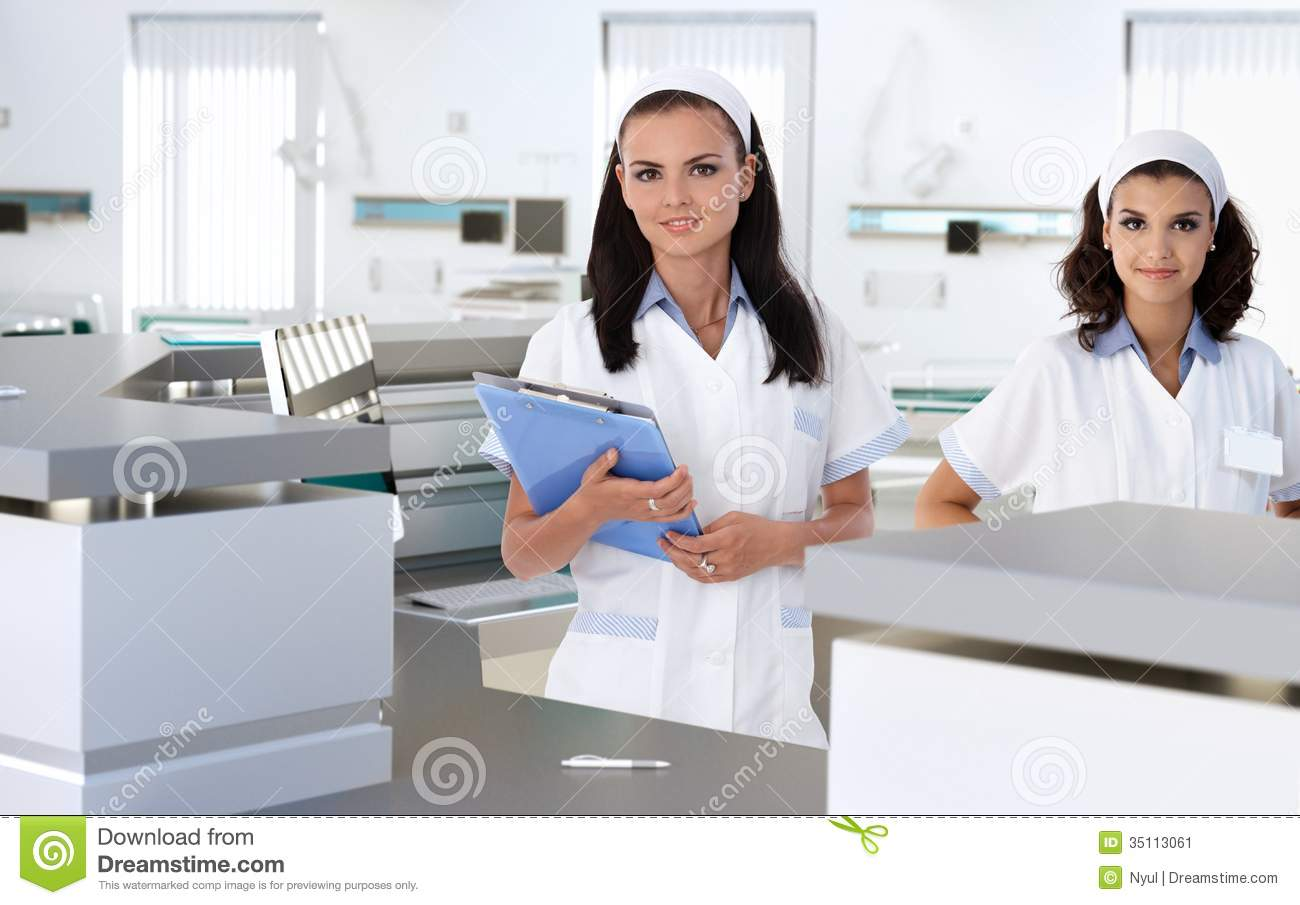 Health Care Workers At Hospital Reception Stock Image   Image