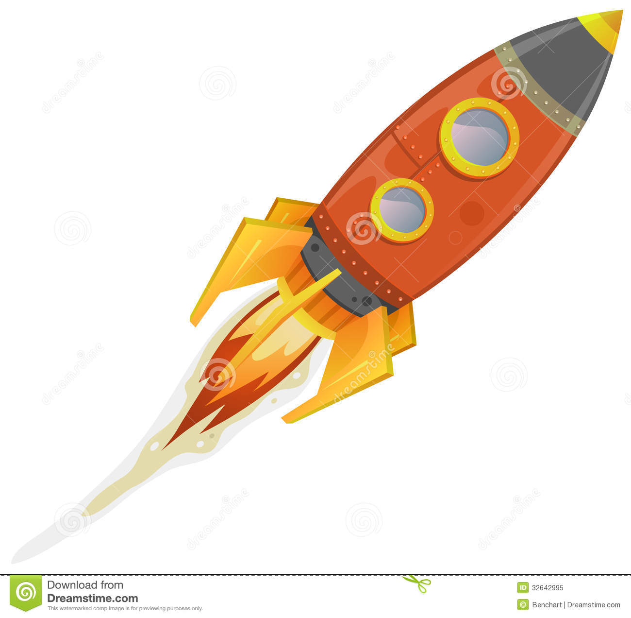 Illustration Of A Cartoon Retro Red Iron Spaceship Blasting Off And