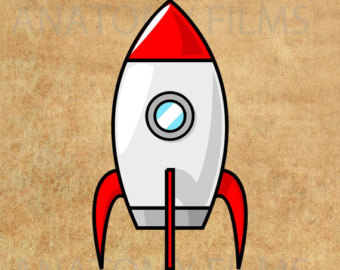 Items Similar To Vintage Rocket Ship Clipart Lineart Illustration
