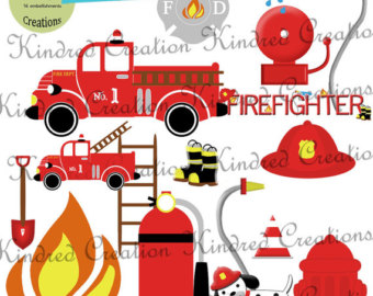 Little Firefighter Digital Embellishment Set 300 Dpi Printable Clipart