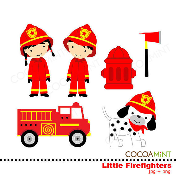 Little Firefighters Clipart By Cocoamint On Etsy