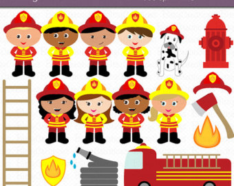 Off Firefighter Kids Digital Art Set Clipart Commercial Use Clip Art